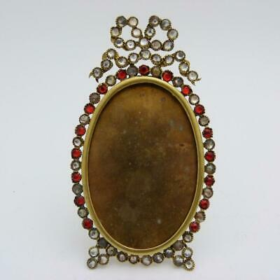 Antique French Ormolu And Paste Set Oval Photo Frame, 19Th Century