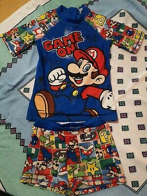 Boys Two Piece  Mario Swim Set. Top And Trunks. Age 9-10years