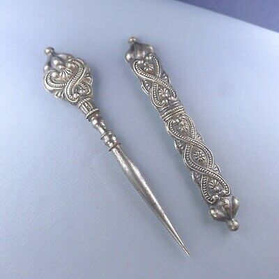 Antique Sterling Silver Sewing Set / French Needle Case Stiletto