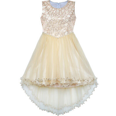 Flower Girl Dress Champagne Sequin Hi-low Wedding Bridesmaid Age 4-10 Years
