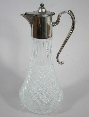 BEAUTIFUL VINTAGE SILVER PLATED & GLASS CLARET WINE JUG decanter