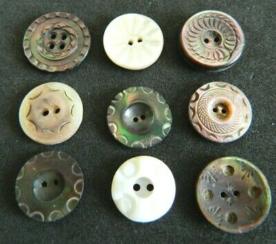 LOT Antique MOP Pearl CARVED Buttons Small Size LOVELY Lot Iridescent