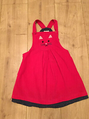 Gorgeous Jojo Maman Bebe Girls Cute Cat Cord Pinafore Dress 3-4 years