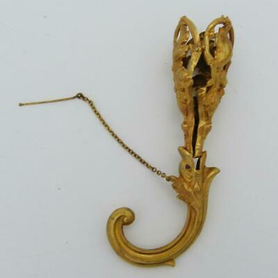 19Th Century French Ormolu Tussie-Mussie Posy Holder, Dolphin Handle