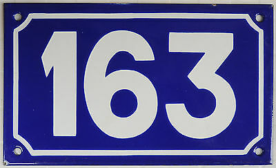 Old large French house number 163 door gate plate plaque enamel steel metal sign
