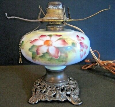 Antique Oil Table Lamp Glass Floral Queen Anne No 2 Long Shade Cast Iron Prongs