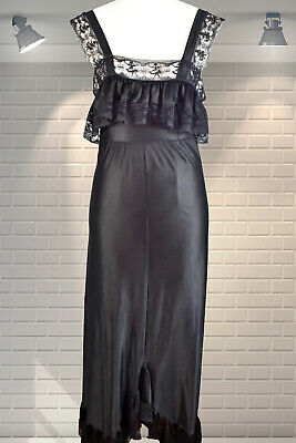 Vintage Long Black Shiny Liquid Satin Nylon Lace Night dress Nightie Nightgown