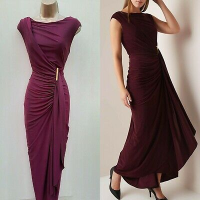 10 UK PHASE EIGHT Berry Red DONNA GRECIAN STYLE LONG MAXI BALLGOWN DRESS
