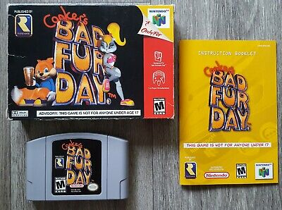 Authentic Conker's Bad Fur Day BFD Nintendo 64 N64 Game CIB Complete Box Mature