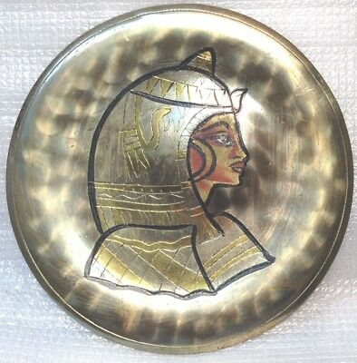 Antique Egypt Egyptian Brass Wall Plate Dish Hand Made Middle East