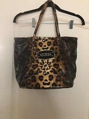 Details about Women's Guess Leopard Print Laurita Purse With Bow Chain Strap Satchel