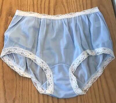 NWOT VINTAGE Kayser All Nylon Brief Panties LACE Size 6 USA Baby BLUE 1960's