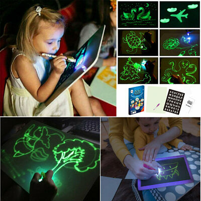 Light Up Drawing Fluorescent Magic Writing Board Kids Fun Developing Toy Gift UK