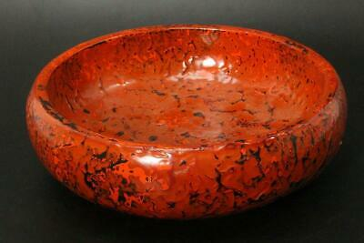 AIZ08 Japanese dried lacquer Aizu vermilion lacquered Kin-mushikui bowl #Japan