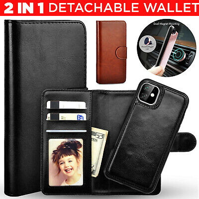 Removable Genuine Leather Case For iPhone 11 Pro Max Magnetic Wallet Flip Cover