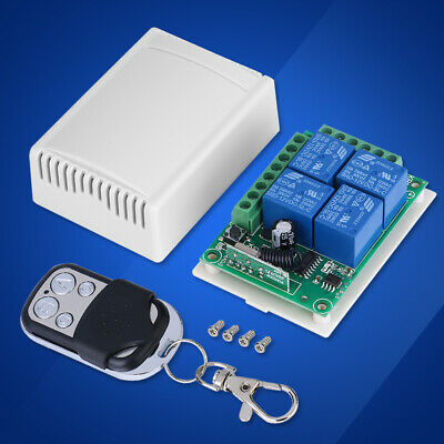 DC12V 4-CH Relay Receiver Transmitter 433Mhz Wireless Remote Control Switch