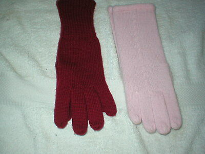2 Brand New Pairs Of Ladies Gloves Pink Wooly Feel And Red