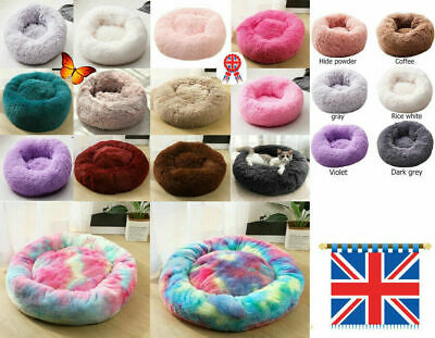 UK Pet Dog Cat Warm Plush kennel Calming Bed Round Nest Comfy Sleeping Cave Hot