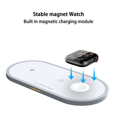 3in1 Qi Fast Wireless Charger Pad Charging Stand F/ Apple Watch Headphone iPhone