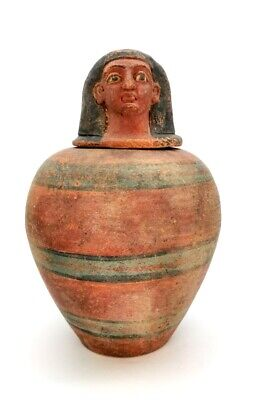 Ancient Egyptian Terracotta Canopic Jar With Lid R341