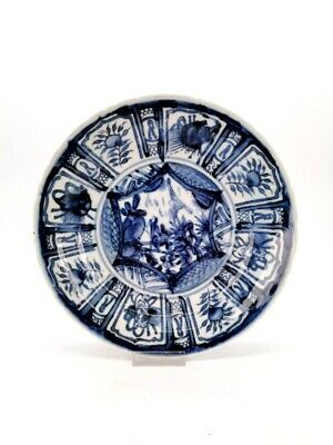 Ancient Chinese Ming White And Blue Porcelain Plate With Nature Scene R 346