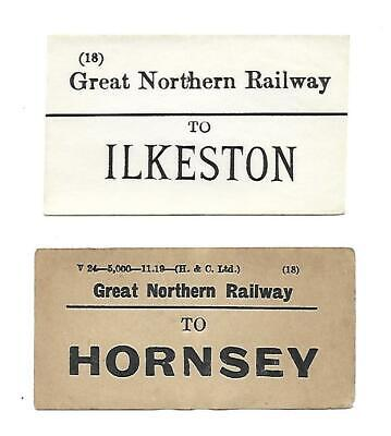 GNR, Great Northern Railway Luggage Labels x2. Ilkeston & Hornsey Stations.