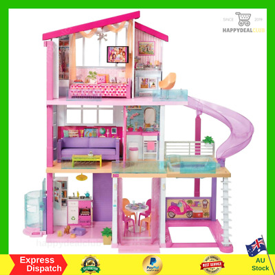 Barbie Dream House With 3 Floors, 8 Rooms, Rooftop Pool & 70+ Accessories NEW AU