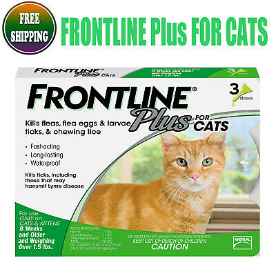 Frontline Plus 3 Doses Genuine For CATS 3 Month Supply Cat Flea & Tick Remedy