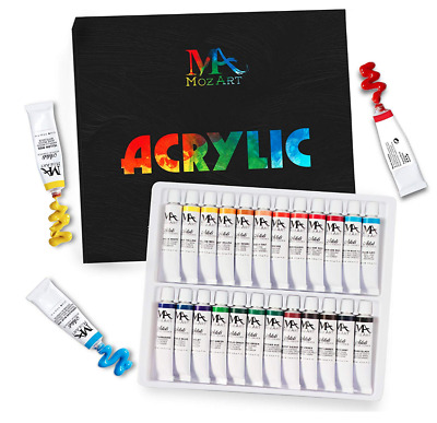 Acrylic Paint Set 24 Drawing Painting Wood Adults Kids Professional Art Supplies