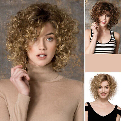 Women Wigs Curly Wavy Short Blonde Brown Hair Wigs Party Wig Costume Beauty