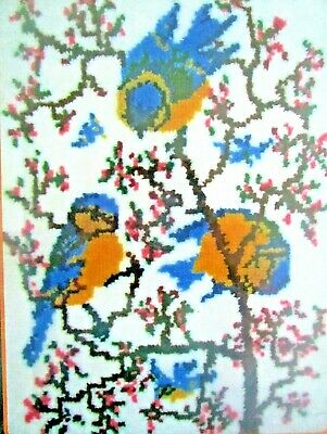 "Latch Hook Rug Kit Bird Kit ""Springtime Bluebirds""  Uk Seller"