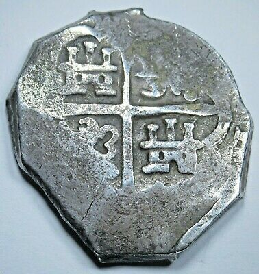 1600's Spanish Silver 8 Reales Eight Real Old Colonial Pirate Treasure Cob Coin