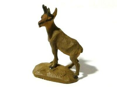 Antique Hand Carved Soft Wood Miniature Deer Mountain Goat Figurine