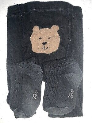 Baby Gap - Girls Black Cable Bear Bum Tights - Age 4-5