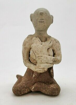 Medieval Thai Ca.1600 Ad  Terracotta Glazed Fertility Idol Holding Infant R257