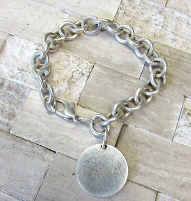 """Tiffany & Co. Sterling Silver Round Tag Please Return To Bracelet 7.5"""" 14-E7929"""