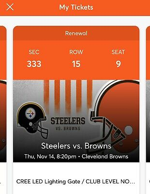 2 Cleveland Browns vs. Pittsburgh Steelers Lake Club Tickets 50 Yard Line !!