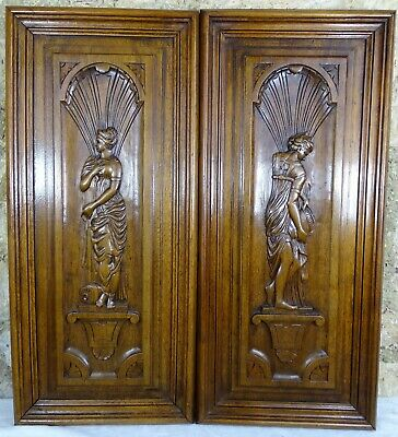 Antique French Pair of Carved Panels Walnut Wood Salvage Figures Women