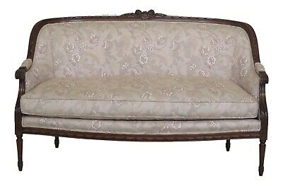 31386EC: French Louis XVI Style Walnut Carved Loveseat