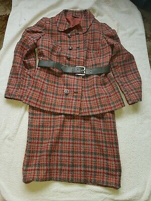 Vintage Rensor Pure Wool Checked Suit Size 14/16
