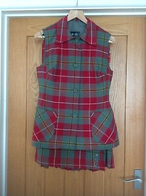 Ladies Vtg Pure New Wool Tartan Kilt Suit Set Red & Green Skirt Size 16 Vest 14