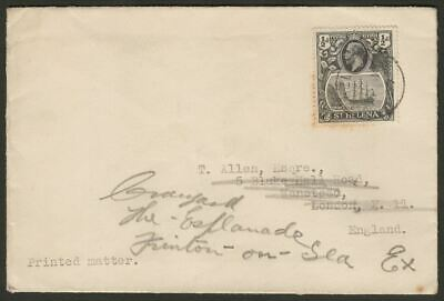 St Helena 1937 KGV ½d Grey-Black and Black Used on Printed Matter Cover to UK