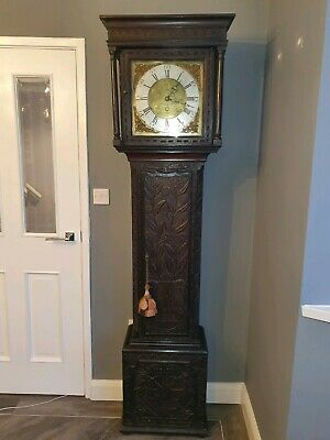 18th CENTURY OAK CARVED LONG CASE CLOCK Ivison Carlisle 30 Hour Grandfather