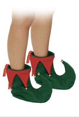 Deluxe Elf Green and Red Jester Pixie Shoes Boots Christmas Fancy Dress Costume