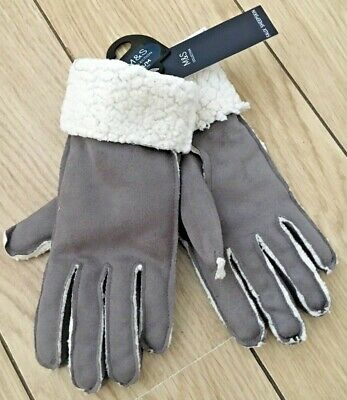 BNWT Ladies FAUX SHEEPSKIN GLOVES Marks & Spencer with Tags Size Small -Medium