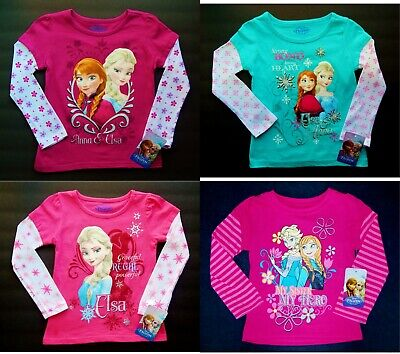 DISNEY FROZEN ANNA ELSA Long Sleeve Tees Shirts NWT Toddler's Size 3T 4T 5T $18