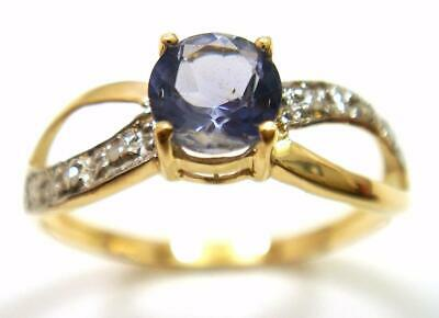 Bestjewellery New 10Kt Yellow Gold Round Iolite & Diamond Ring  Size 7   R855