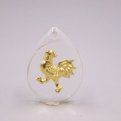 Pure 999 Gold Chicken Man-made Crystal Pendant