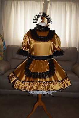 Amazing Gold Satin Adult Sissy Maids Dress With gold  Apron size xl