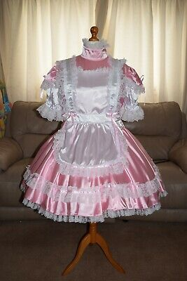 Amazing Pink Satin Adult Sissy Maids Dress with white Apron and Trim size xl